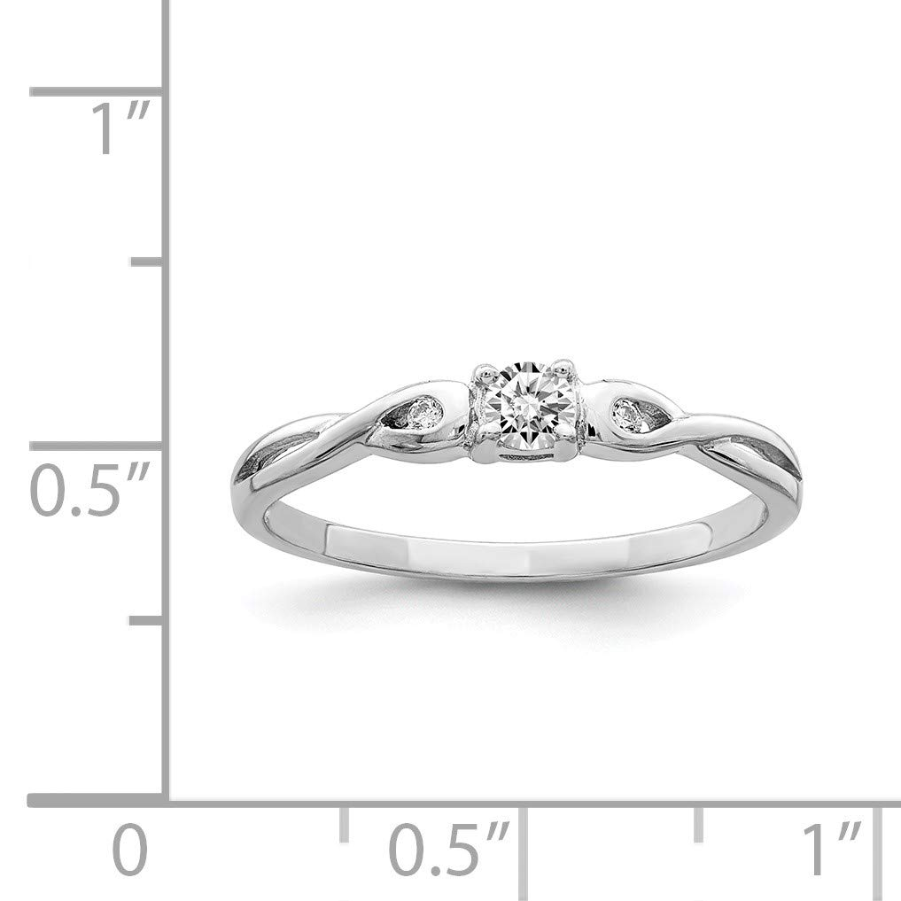 Size 6 Bonyak Jewelry Sterling Silver Rhodium-Plated and CZ Ring
