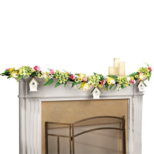 Collections Etc Tulip Spring Floral Garland with 3 Hanging Birdhouses & 10 LED Lights (Garland Spring)