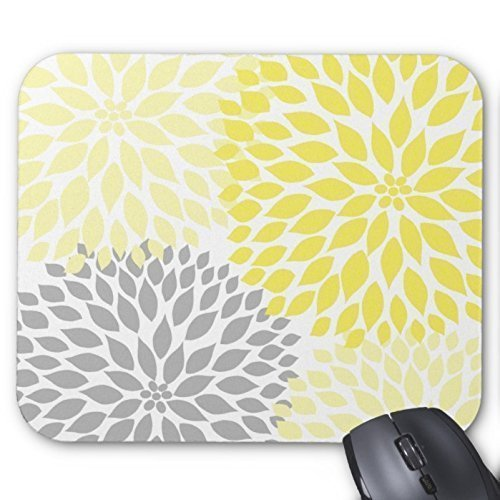 Yellow and Gray Flower Pattern Design Mouse Pad Inspirational Quote Design Pattern Print Desktop Office Mousepad Bible Verse Quotes Rectangle Mouse Pads Nature Unique Mouse Pads