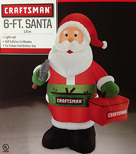 Gemmy Airblown Inflatable Craftsman Santa Holding a Tool Box - Holiday Decoration, 6-foot Tall by Gemmy