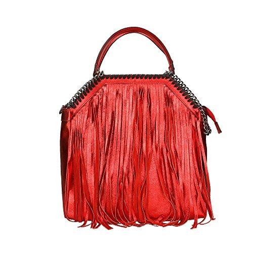 Aren Bolso de mujer en cuero auténtico Made in Italy - 31x35x14 Cm Rojo