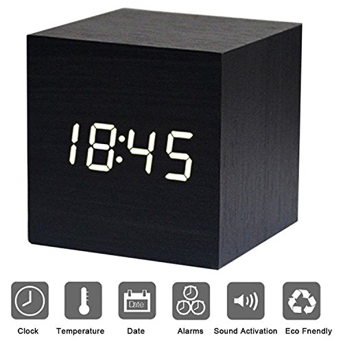 Bashley Wood Alarm Clock Digital LED Light Minimalist Mini Cube with Date and Temperature Sound Control Desk Alarm Clock for Travel, Kids Bedroom, Home, Office-Black