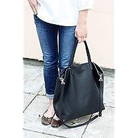 DOMI - Top Zip Black Leather Tote Bag