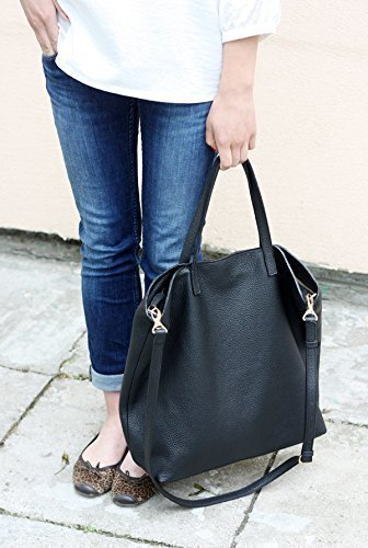 DOMI - Top Zip Black Leather Tote Bag by MISHKAbags