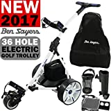 'NEW 2016' BEN SAYERS WHITE ELECTRIC GOLF TROLLEY + 36 HOLE BATTERY & CHARGER