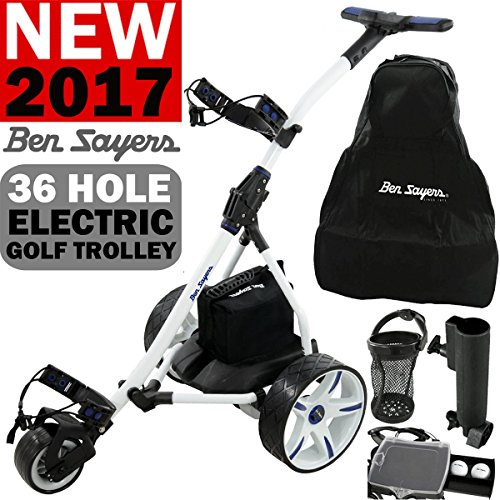'NEW 2016' BEN SAYERS WHITE ELECTRIC GOLF TROLLEY + 36 HOLE BATTERY &...