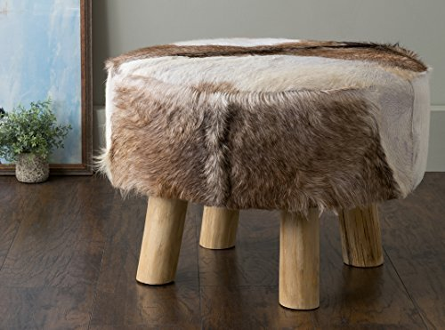Cheap East at Main Maxwell Brown Round Natural Hide Ottoman, (24x24x16)