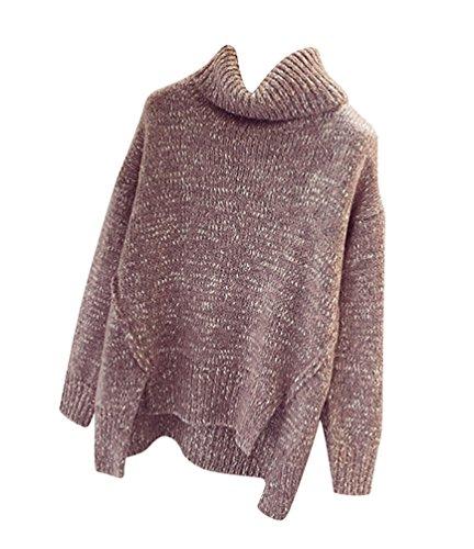 YOUJIA Mujer Suéteres Cálido Chunky Irregular Manga larga Cuello Alto Suéter Pullover Jumper Tops - Talla única Pink