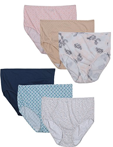 Bali Women's Luxe Cotton 6 Pack Brief Panty, Assorted(3X-Large)