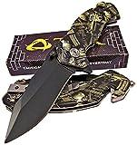 TEK Spring Assisted Opening Tactical Edge Rescue Folding Pocket Knife: Lightning Quick Deployment – Camo Handles –