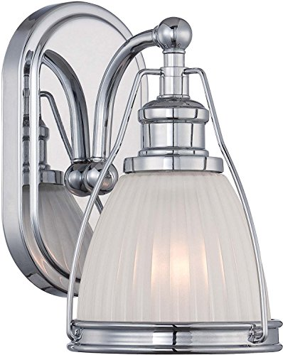 Minka Lavery Urban Industrial Wall Sconce Lighting 5791-77, Transitional Bath Glass Damp Bath Vanity Fixture, 1 Light, Chrome ()