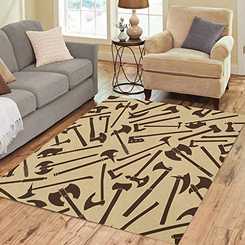 Semtomn Area Rug 3' X 5' Auxiliary Axes Abstract Battle Blade Burning Chop Clip Clipart Home Decor Collection Floor Rugs Carpet for Living Room Bedroom Dining Room