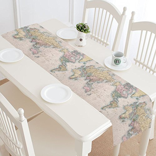 InterestPrint Old Stained World Map Table Runner Linen & Cotton Cloth Placemat Home Decor for Kitchen Dining Wedding Party 16 x 72 Inches