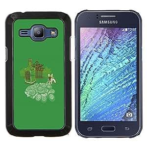 KLONGSHOP // Cubierta de piel con cierre a presión Shell trasero duro de goma Protección Caso - Absinth Fairy Dreams divertido - Samsung Galaxy J1 J100 //
