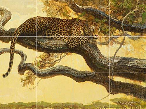 Leopard Jungle Wildlife Africa Wild cat Ceramic Tile Mural backsplash Art Painting Decor ()