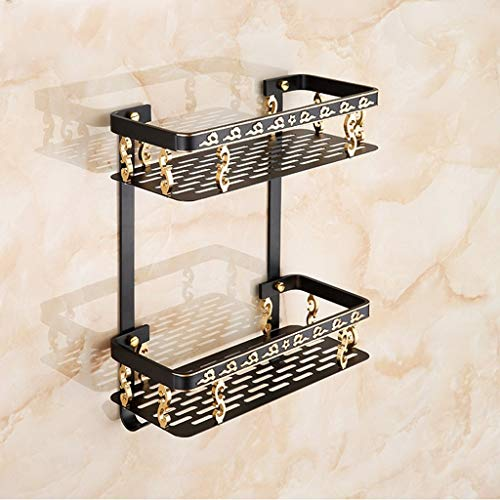 (Shower Shelf Caddy, Shower Organiser, 2 Tier Bathroom Shelf Basket with Hook - Wall Mounted, for Shampoo and Cosmetic, Aluminum, Black 31.5×38.5 cm)