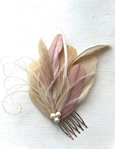 Oh Lucy Handmade LANE Peacock Feather Fascinator with Pearl, Feather Hair Comb, Bridal Hair Piece in Champagne, Dusty Rose, and Ivory by Oh Lucy