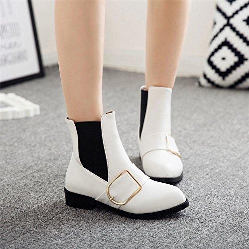 YE Damen Flache Chelsea Boots Stiefeletten mit Schnalle Modern Elegant Bequem Schuhe Weiß