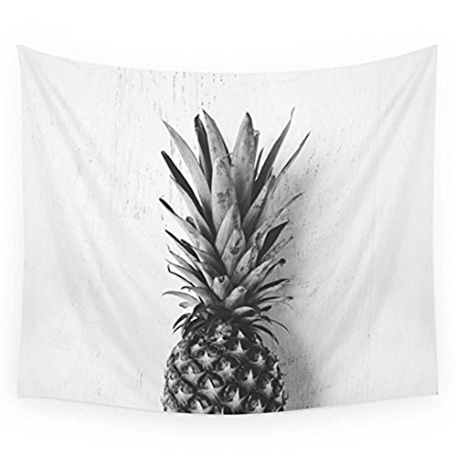 Pineapple Tapestry Wall Hangings Wall Blanket Art Dorm Shawl Beach Towel Throw Tapestry Decor Bedspread Bedroom Living Kids Girls Boys Room Dorm Accessories 51x59inchs (White-Grey)