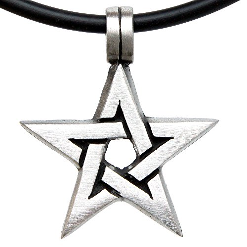 Pentagram Magic (Magic Star Pentagram Pagan Wican pewter Pendant necklace Charm Amulet (Black PVC Cord))