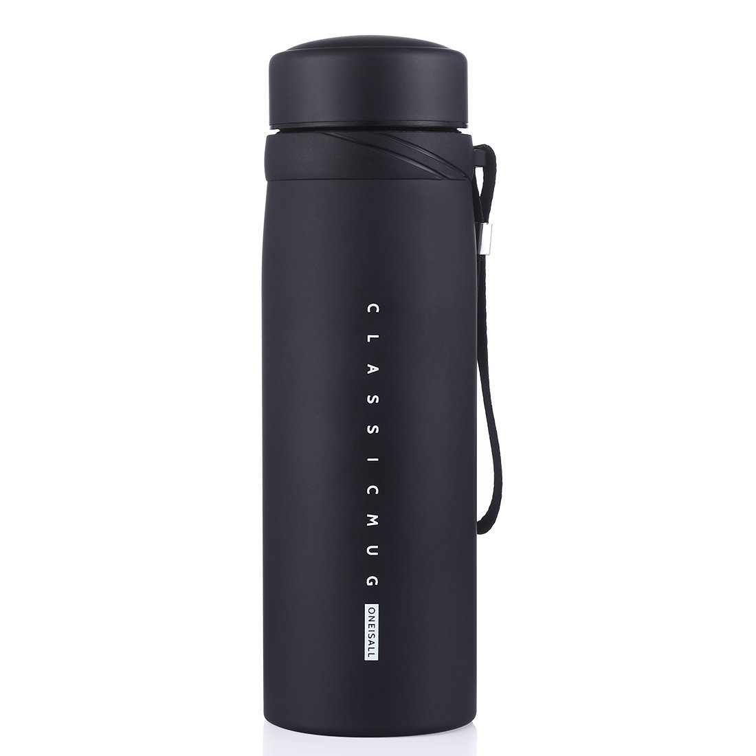 ONEISALL 30 OZ Large Stainless Steel Coffee Thermos Vacuum Insulated Water Bottle Beverage Bottle Wide Mouth Travel Tumbler with Tea Infuser,BPA Free Twist Lid Bottle for Hot/Cold Liquid (Black)