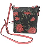 Coach Camo Crossbody Flowers Rose Brown RedLeather Bag New