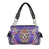 : HW Sugar Skull Rhinestone Flower Concealed Carry CCW Purse Shoulder Bag Jp Purple