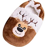 Toddler Christmas Slippers Infant Kids Baby Santa Claus Elk Printed Warm Shoes Boys Girls Cartoon Christmas Red Xmas Soft Cotton Shoes