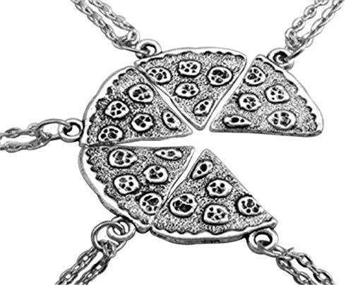 MJartoria Antique Silver Color Pizza Slice Friendship Necklace Set of 5