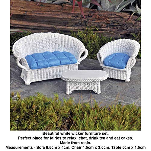Resincraft Wicker Furniture Set White Ornaments Indoor Outdoor Miniature Fairy Garden Accessories Ideas Kits - Furniture Dollhouse Wicker