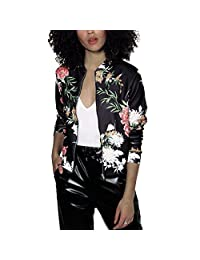 Women Floral Printed Quilted Lightweight Short Bomber Jacket Hoodie Sweater