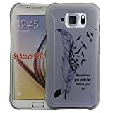S6 Active Case, Galaxy S6 Active Case, Harryshell(TM)Feather Pattern Slim Scratch-Resistant Tpu Gel Flexible Silicone Soft Case Cover Skin Protective for Samsung Galaxy S6 Active G890