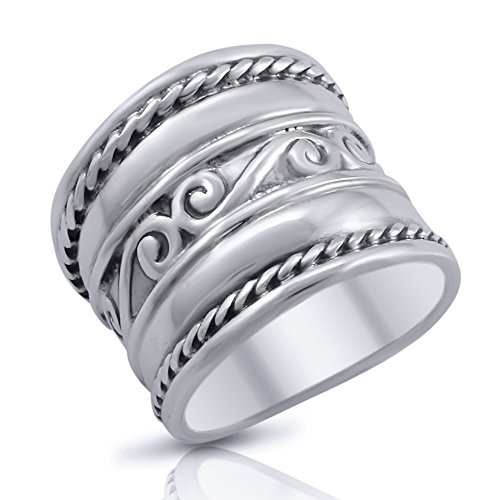 (Sterling Silver Bali Spiral Swirl 17mm Wide Cigar Band Ring - Size 6)
