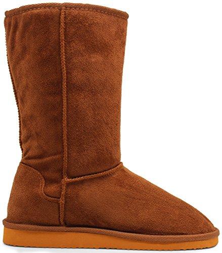 [Marco Republic Alaska Womens Soft Fur Eskimo Boots - (Dark Camel) - 7] (Brown Fur Boots)