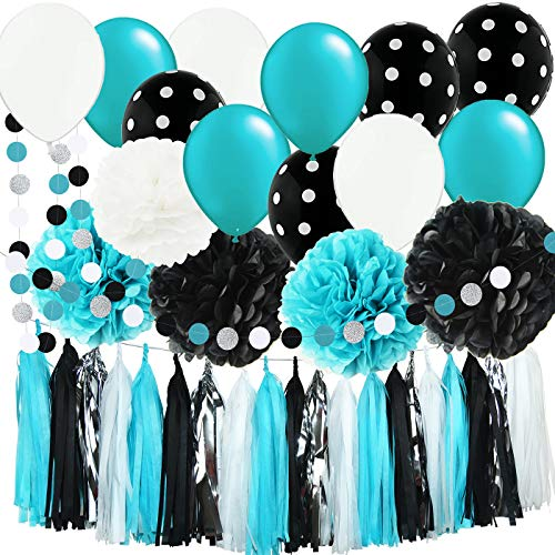 Baby Shower Decorations Robin's Egg Blue White Black Silver Party Decorations Robin's Egg Blue Banner Tissue Pom Pom Black Polka Dot Balloons Turquoise Birthday Party Decorations/Bridal Shower Decor -