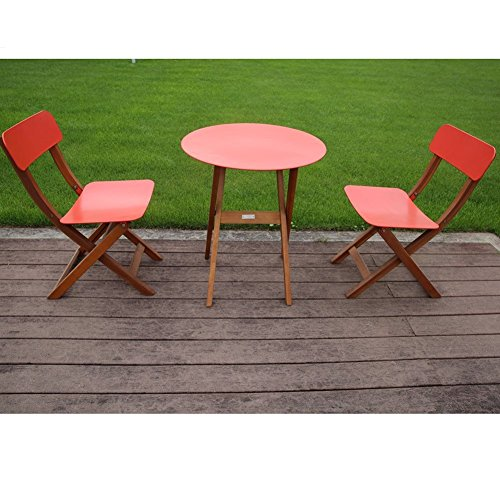 Abba Patio 3 Piece Eucalyptus Folding Cafe Bistro Set Outdoor Furniture Set with Round Table and Two Chairs, Red