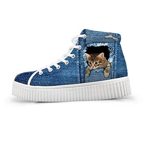 Cat Platform Shoes (HUGSIDEA Cute Cat Head Print Woman Sneaker Denim Blue Platform Lace Up Shoes US5)