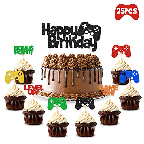 Cupcake Birthday Cakes (Video Gaming Party Cake & Cupcake Toppers Gamer Party Supplies Video Game Themed Birthday decorations Game Fans Party)
