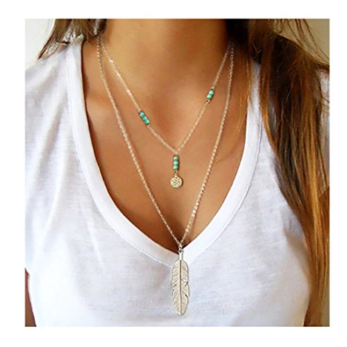 Wowanoo Simple Layered Bar Pendant Necklace Boho Feather Chain Necklace for Women...
