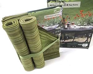 Juego de 4 Riviera manteles y servilletas rayadas 100% algodón verde para jardín, Picnic, barbacoas, etc....