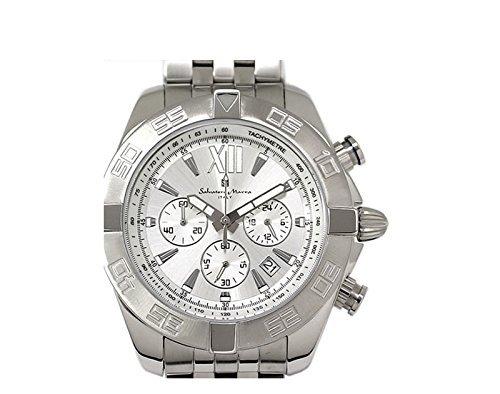 Salvatore Marra watch SM14121-SSBKWH chronograph date calendar with Silver Men SSSV