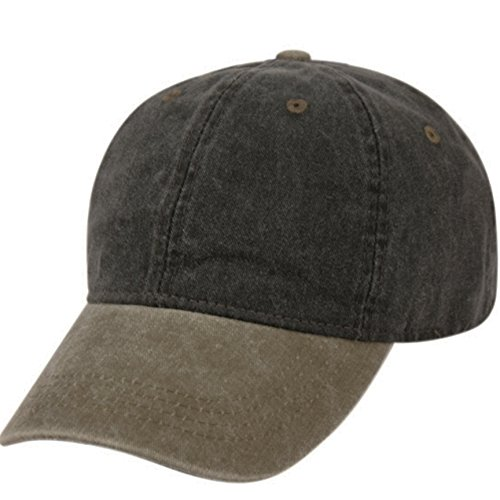 Velcro Style Closure - E-Flag Pigment Dyed Washed Cotton Cap - Adjustable Hat (47 Styles/Colors) (Black/Olive)