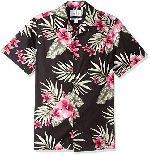 Mens Hibiscus Aloha Shirt - 28 Palms Men's Standard-Fit 100% Cotton Tropical Hawaiian Shirt, Black/Pink Hibiscus Floral, Large