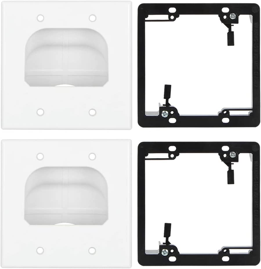 Wi4You Recessed Cable Wall Plate 2 Gang Pass Through Cable Hider with Low Voltage Mounting Brackets for HDMI, Coax, Data, Ethernet Cables and Wires (White, 2 Pack)