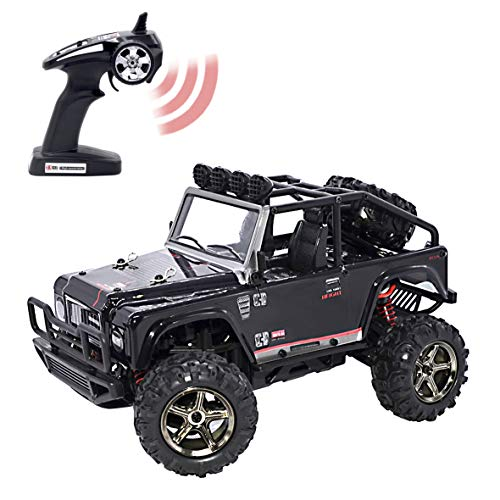Wrangler Control Jeep Remote - KELIWOW 1:22 Scale 4WD RC Jeep 25 Mph High Speed Off-Road RC Truck 2.4GHz Brave Remote Control Electric Car with Independent Suspension and LED Lights RTR (Black)