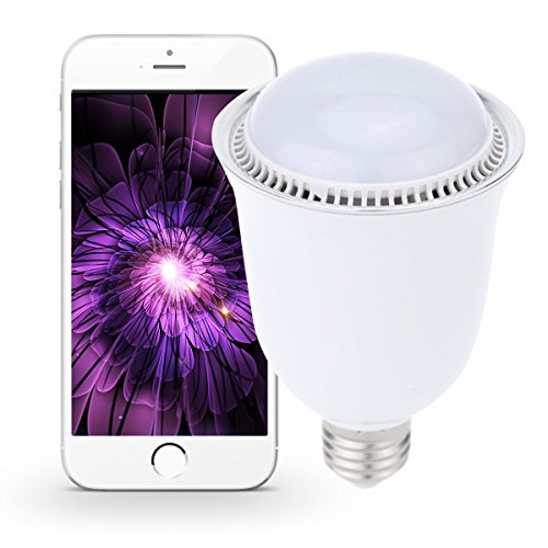 Smart Music Bulb Bluetooth Speaker 5W E27/E26 RGBW 16 Million True Color Changing Wireless Stereo Led Lighting Lamp (White)