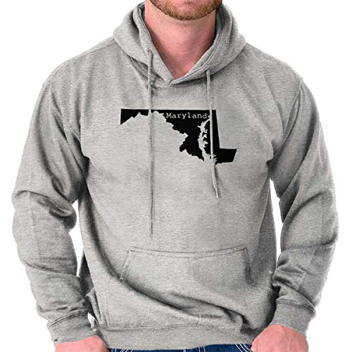 Classic Teaze Maryland State Map Shape Souvenir MD Pride Hoodie Sport Grey