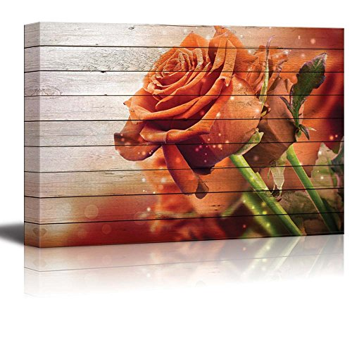 wall26 - Vintage Bouquet of Orange Roses on White Wood Panels and a Vignette Around It - Canvas Art Home Decor - 24x36 inches