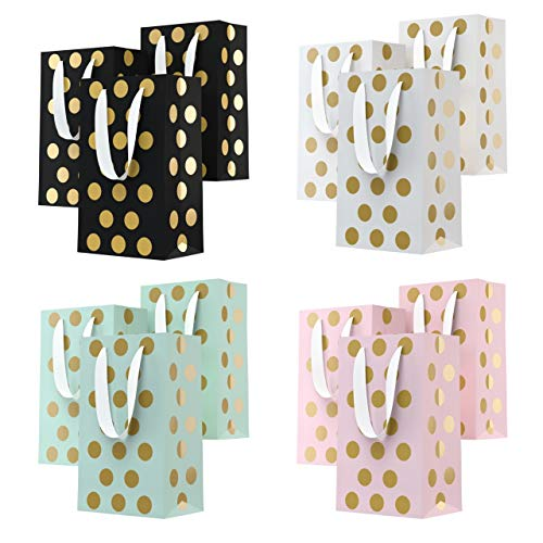 (Eco Works Inc. 12 Bags - Birthday Gift Bags Assorted Colors with Handles - Polka Dot Gift Bags in Bulk 230g Bags with Metal Eyelets and Cardboard Padding on Bottom (4 Colors))
