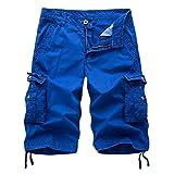 LOCALMODE Men's Casual Cotton Multi Pocket Twill Cargo Shorts Blue 36